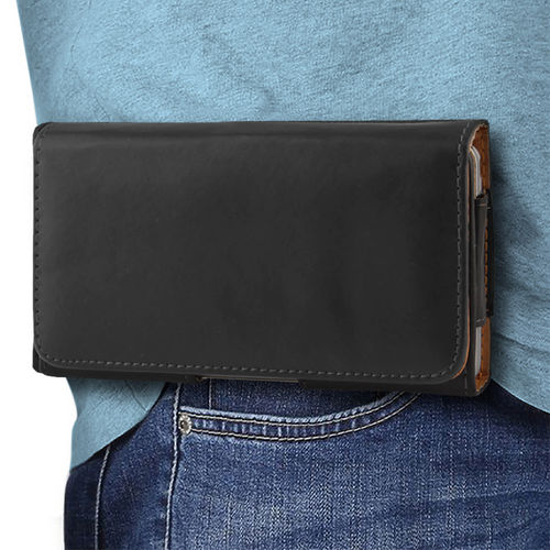 Executive (Medium) Horizontal Leather Pouch / Belt Clip Case for Mobile Phone