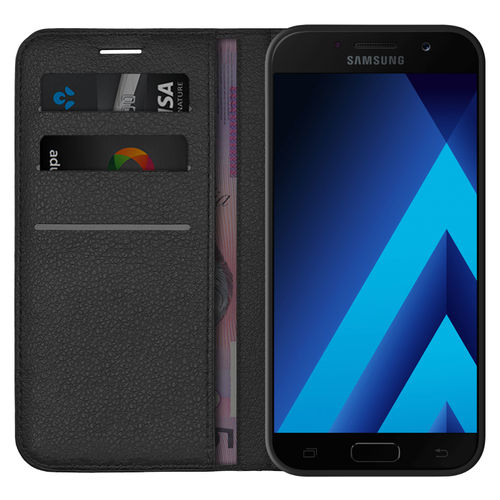 Leather Wallet Case & Card Holder Pouch for Samsung Galaxy A5 (2017) - Black