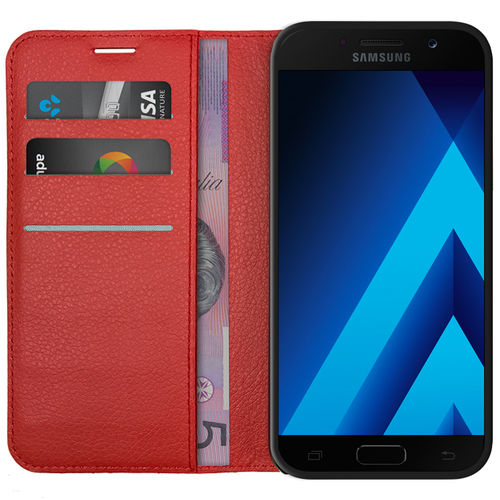 Leather Wallet Case & Card Holder Pouch for Samsung Galaxy A5 (2017) - Red