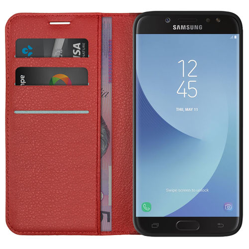 Leather Wallet Case & Card Holder Pouch for Samsung Galaxy J7 Pro - Red
