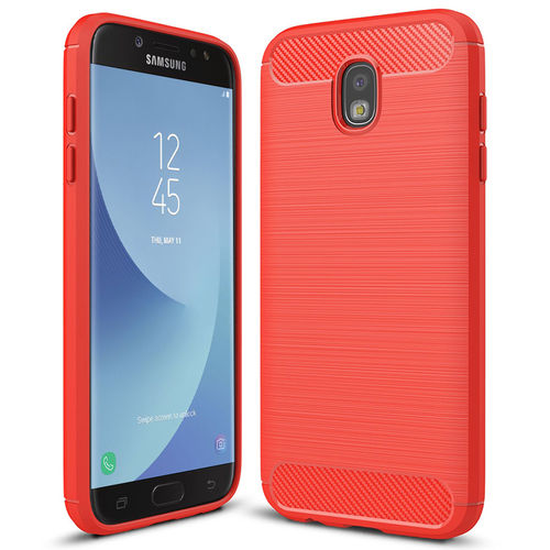 Flexi Slim Carbon Fibre Case for Samsung Galaxy J7 Pro - Brushed Red