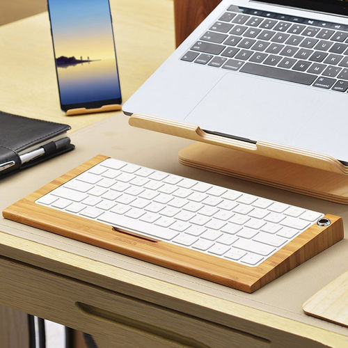 SAMDI Simple Wooden Apple Magic Keyboard Tray Holder Stand