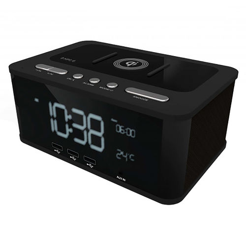 Laser Alarm Clock / Bluetooth Speaker / Wireless Charger / FM Radio / 3x USB Port