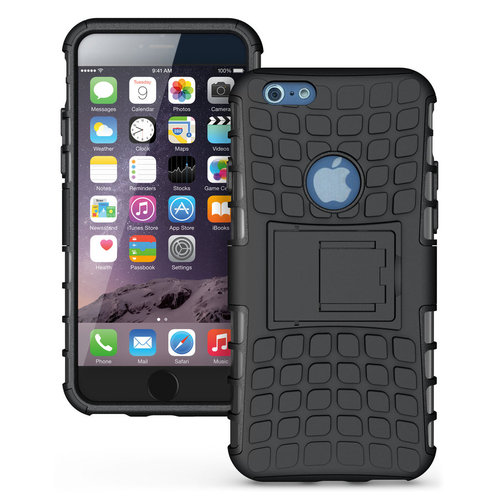 Dual Layer Tough Rugged Shockproof Case - Apple iPhone 6s Plus (Black)