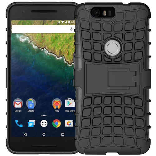 Dual Rugged Tough Shockproof Case for Google Nexus 6P - Black