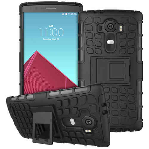Dual Layer Rugged Tough Shockproof Case for LG G4 - Black