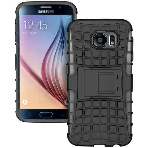Dual Layer Rugged Tough Shockproof Case for Samsung Galaxy S6 - Black