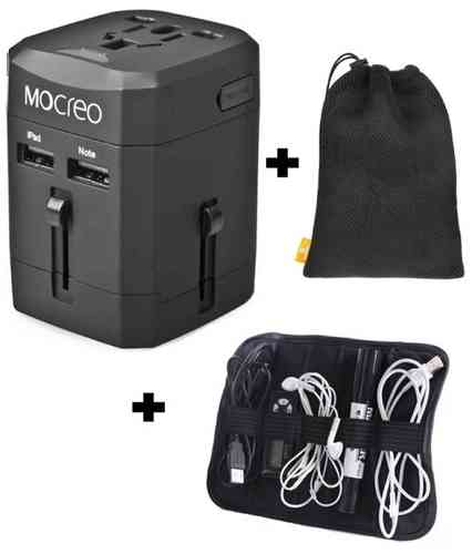 Ultimate Travel Bundle - Adapter & Cable Organiser & Carry Bag