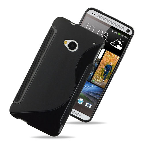 S-Line Flexi Gel Case for HTC One M7 - Black (Two-Tone)