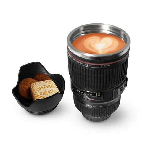 Camera Zoom Lens Insulated Thermos Coffee Mug (450ml) - Black